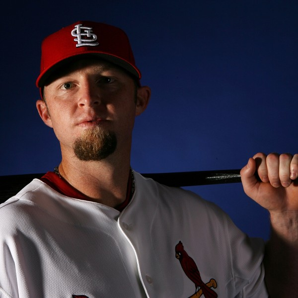 Chris Duncan #16 of the St. Louis Cardinals poses for a photo at Roger Dean Stadium on Feb. 26, 2008, in Jupiter, Florida. (Credit: Doug Benc/Getty Images)