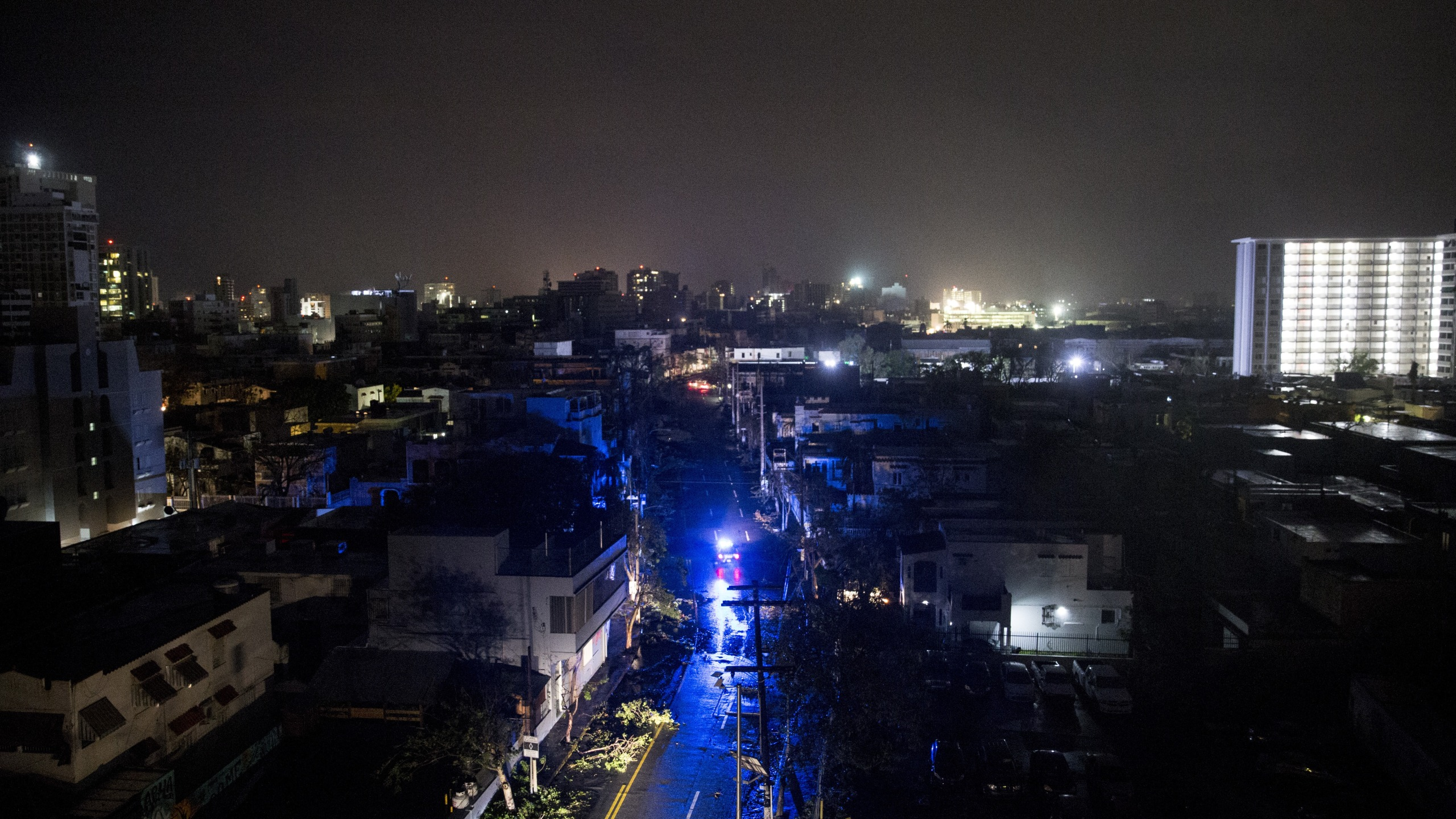 San Juan is seen during a total blackout after Hurricane Maria made landfall as a Category 4 storm on Sept. 20, 2017. (Credit: Alex Wroblewski/Getty Images)
