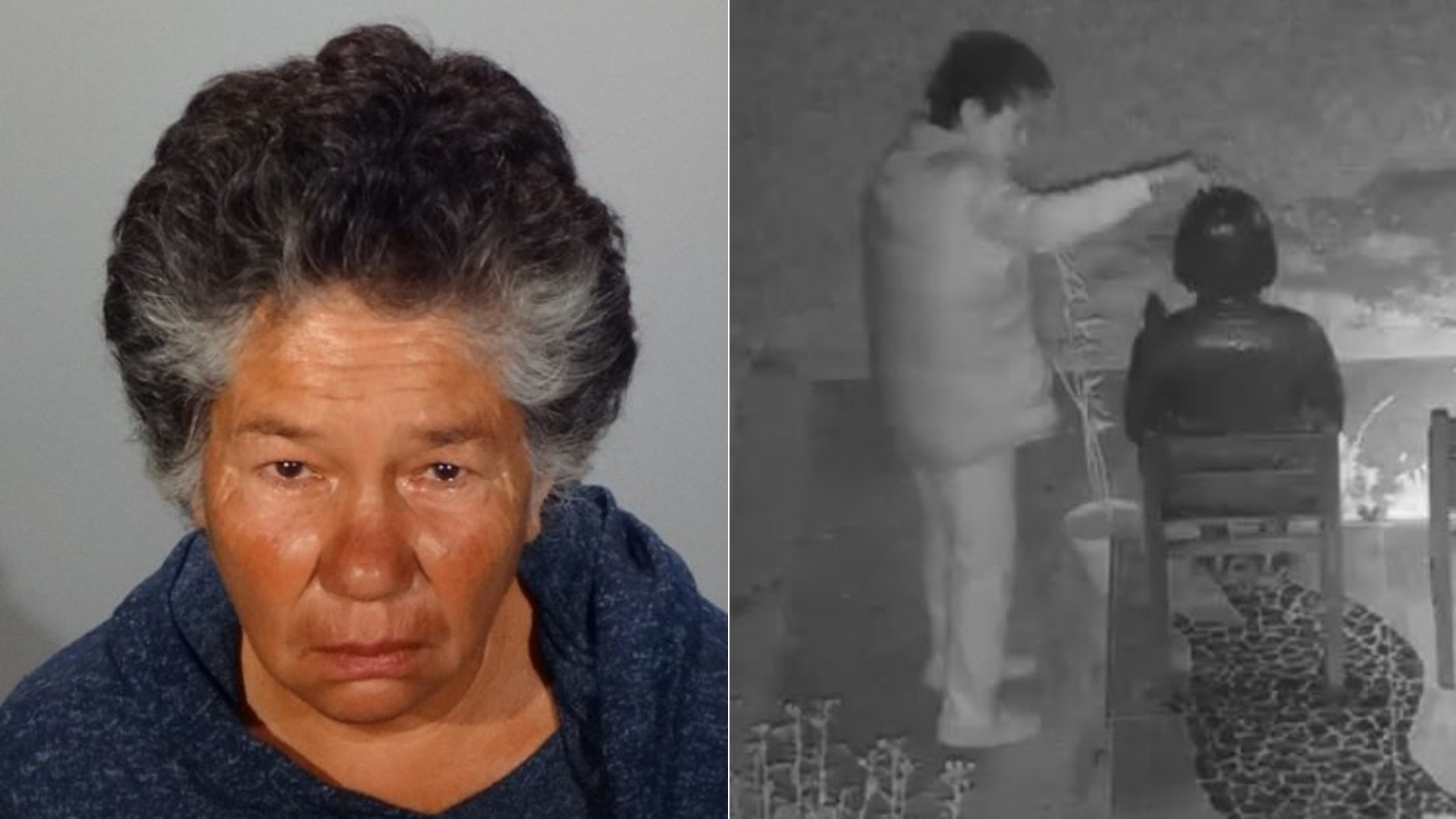 Jackie Rita Williams is shown in a booking photo released by the Glendale Police Department on Sept. 27, 2019. She was arrested in connection with the vandalism of the Glendale Korean Comfort Woman Monument (seen in surveillance video on the right) on Sept. 26, 2019.
