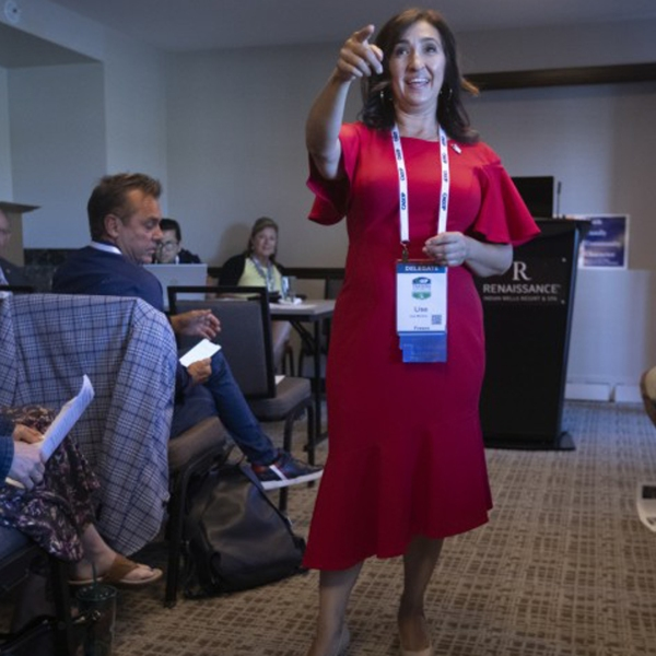 Delegate Lisa Moreno at a training session called Engaging Hispanic Communities during the California GOP convention in September 2019.(Credit: Francine Orr/Los Angeles Times)