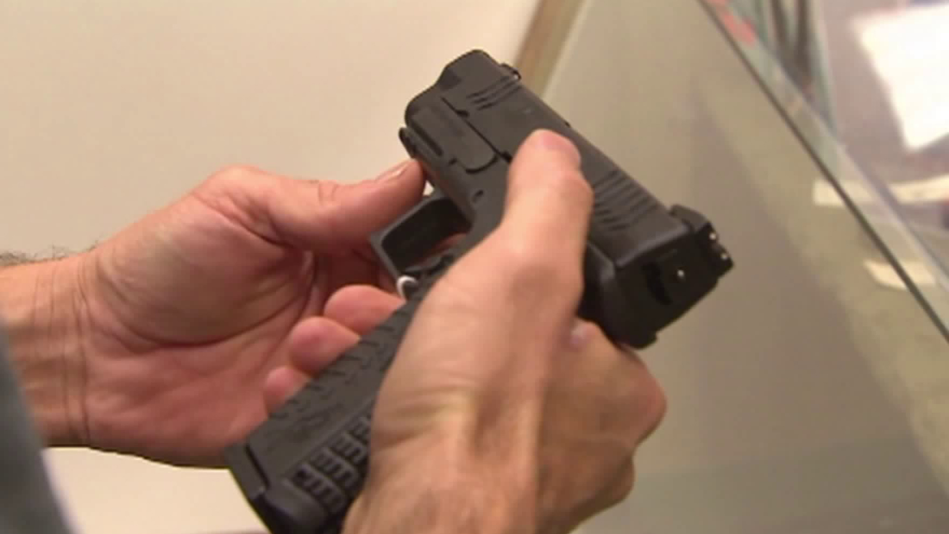 A handgun is seen in this file photo. (Credit: KTLA)