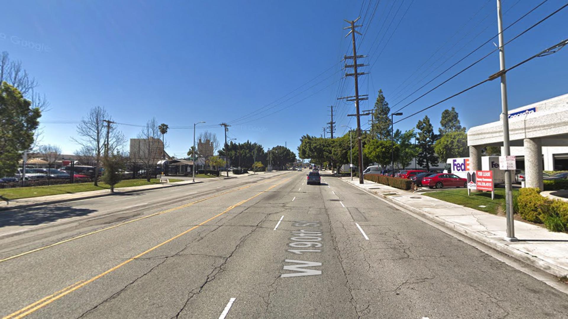 The 1000 block of West 190th Street in the Harbor Gateway neighborhood of Los Angeles, as viewed in a Google Street View image.