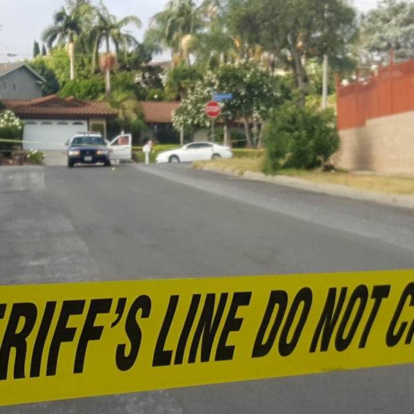 L.A. County sheriff's deputies investigate a deadly shooting in Hacienda Heights on Sept. 9, 2019. (Credit: KTLA)