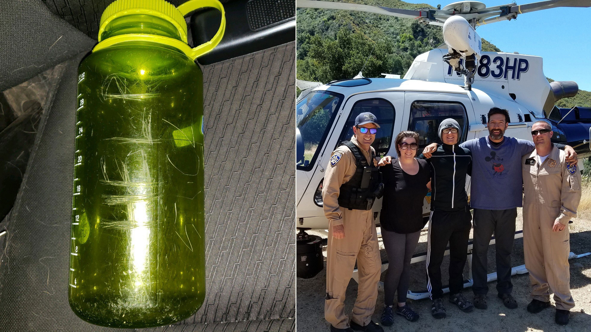 """A family stranded while backpacking in the Arroyo Seco River carved """"HELP"""" on a green bottle in June 2019. On the right, Curtis Whitson, his 13-year-old son and girlfriend, Krystal Ramirez, pose with rescue crews. (Credit: Curtis Whitson via CNN)"""