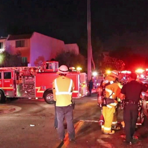 Fire crews respond to a burning building in Inglewood on Sept. 23, 2019. (Credit: Loudlabs)