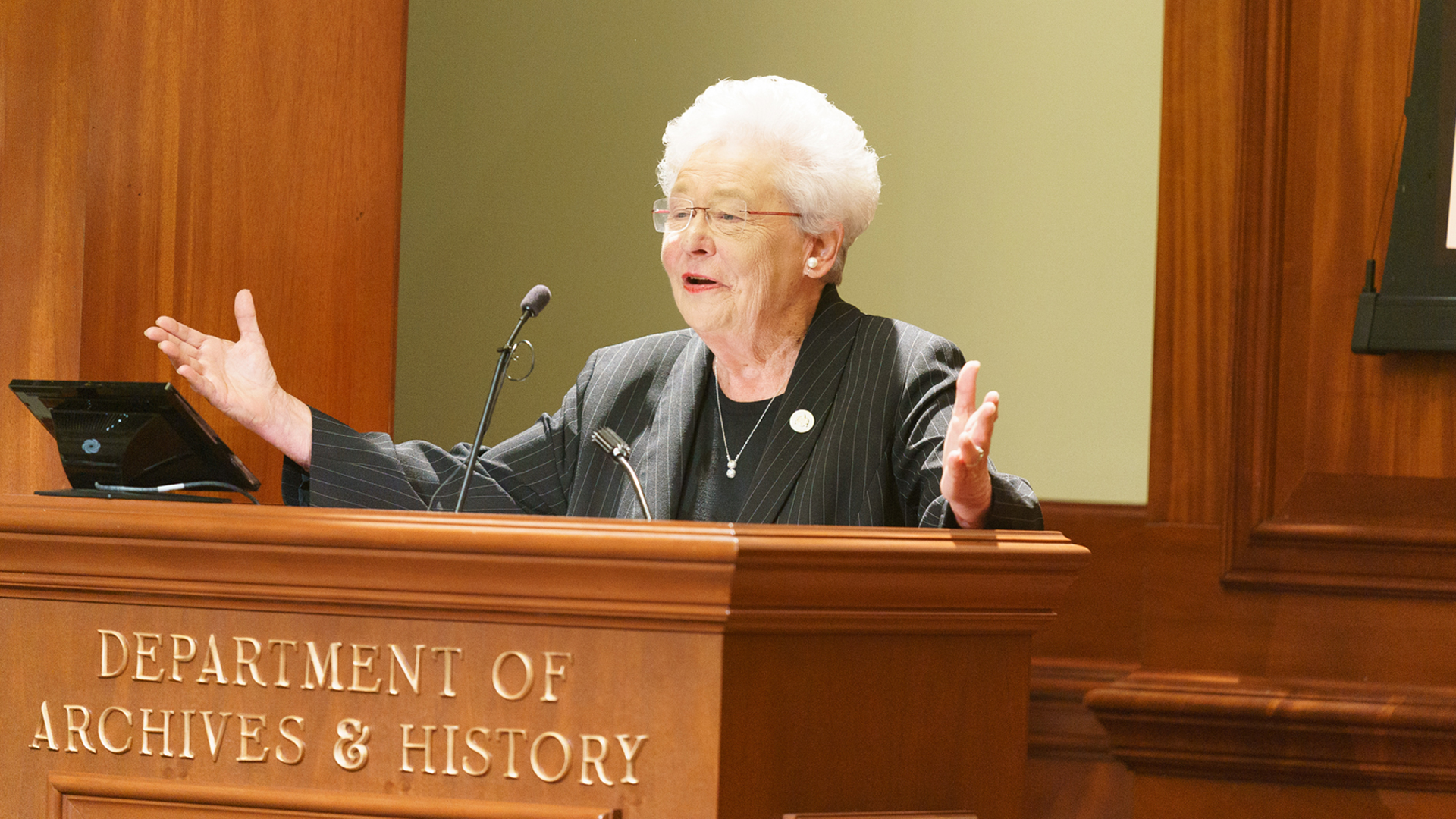 Alabama Gov. Kay Ivey speaks at an event at the Alabama Department of Archives and History in Montgomery on Sept. 3, 2019, in a photo released by her office.
