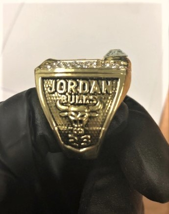 A fake Jordan ring seized by federal agents is seen in this photo released by the U.S. Customs and Border Protection on Sept. 11, 2019.