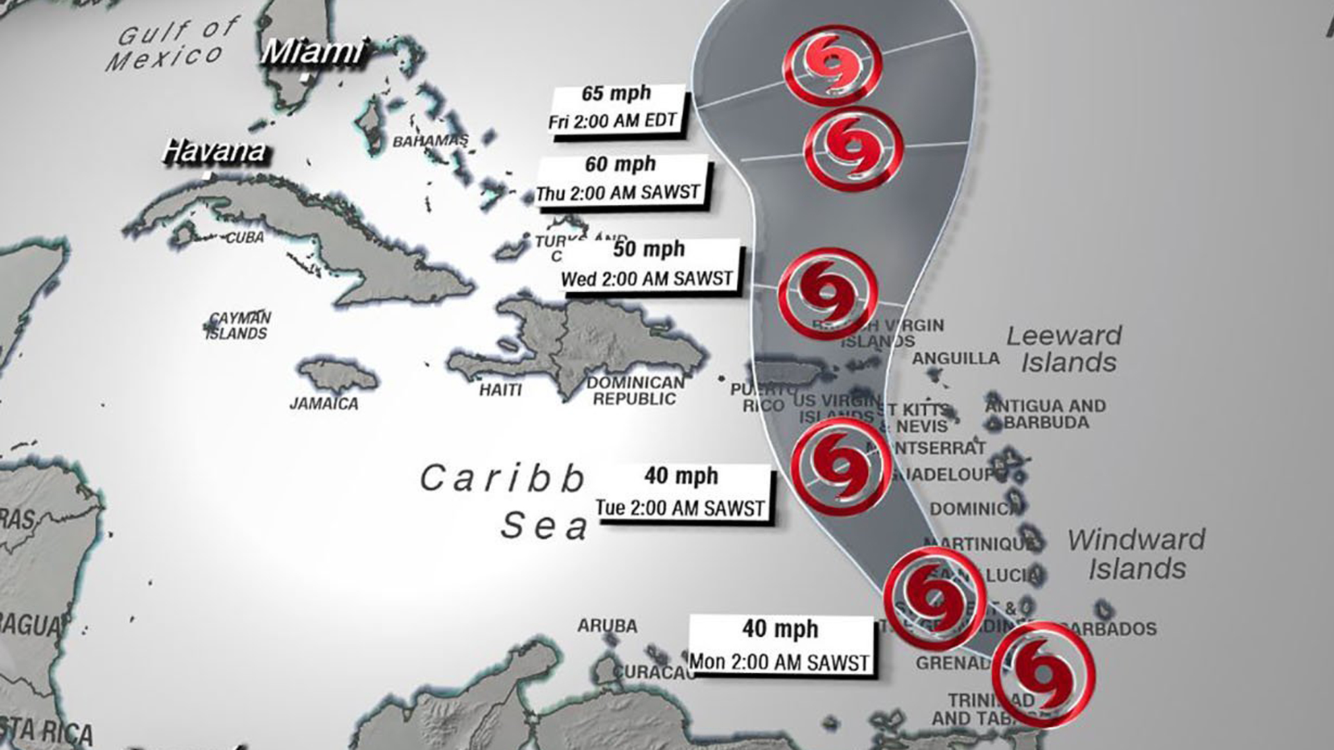Tropical Storm Karen formed just east of the Windward Islands and has sustained winds of 40 mph. A tropical storm warning has been issued for Trinidad and Tobago, along with Grenada and its dependencies. (Credit: CNN)