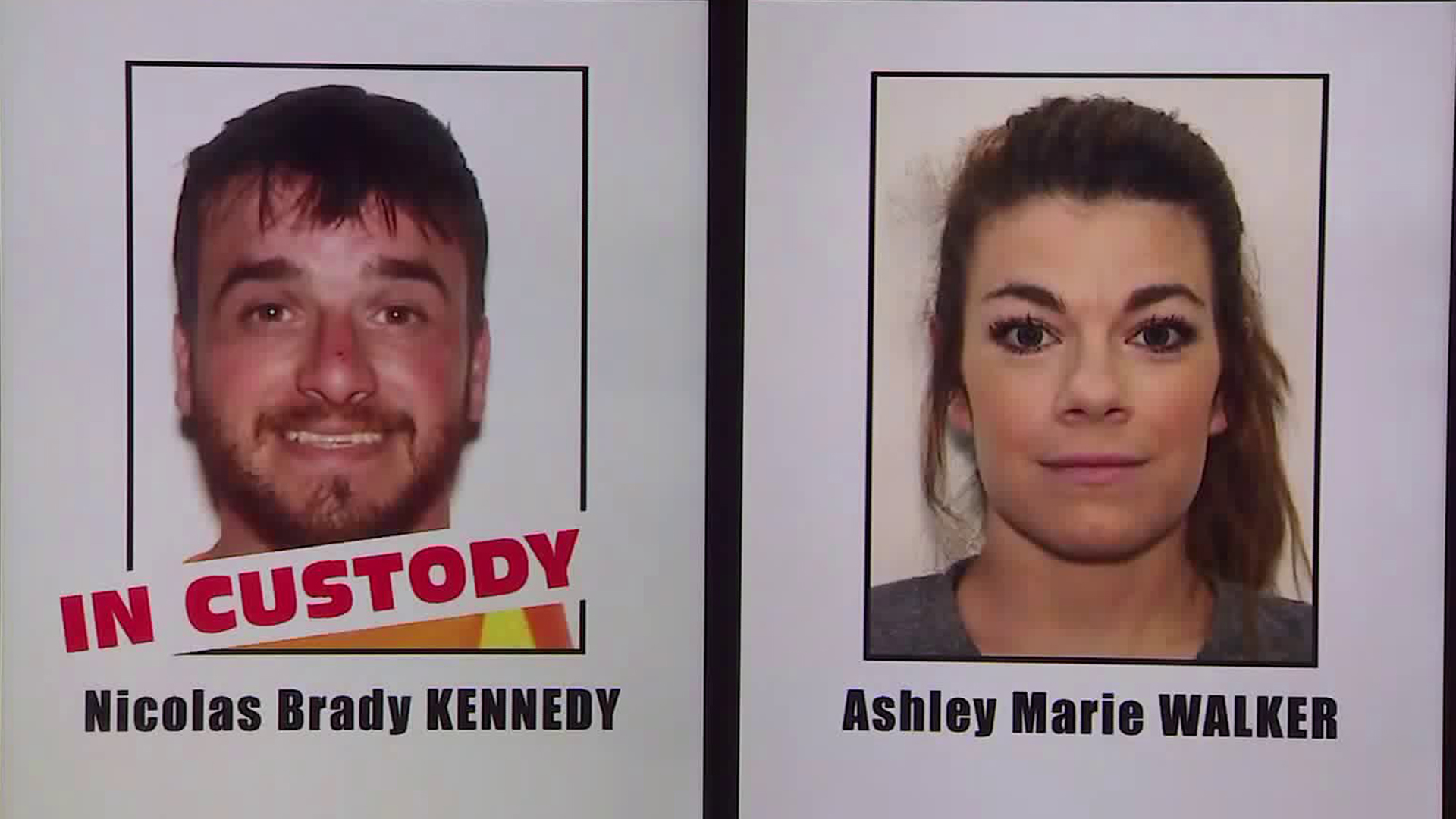 Nicolas Brady Kennedy and Ashley Marie Walker are shown in photos during a Los Angeles County Sheriff's Department news conference on Sept. 16, 2019. (Credit: KTLA)