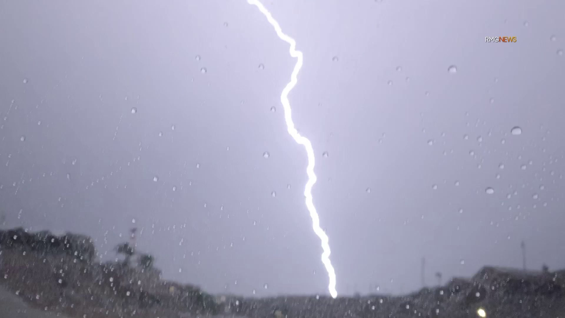 A bolt of lightning hits Riverside County on Sept. 2, 2019. (Credit: RMG News)