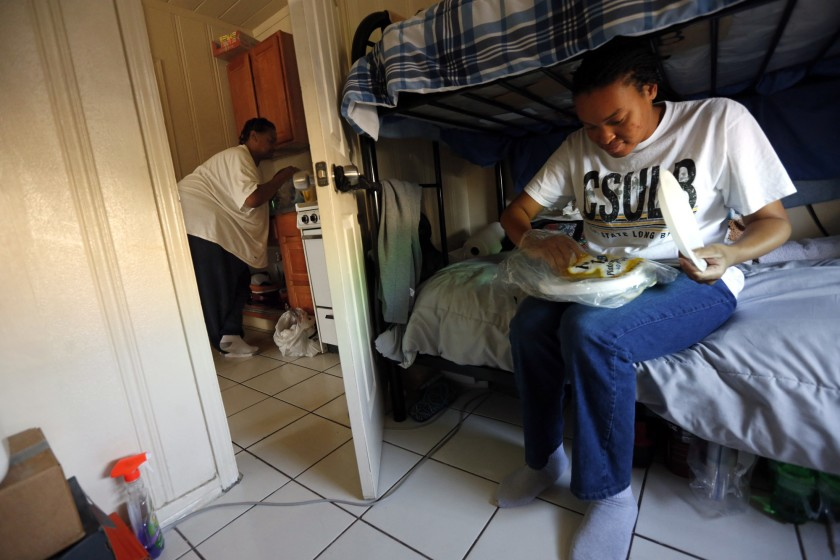 A Cal State Long Beach student in 2016 turned to transitional housing when she could not afford an apartment. (Credit: Genaro Molina / Los Angeles Times)