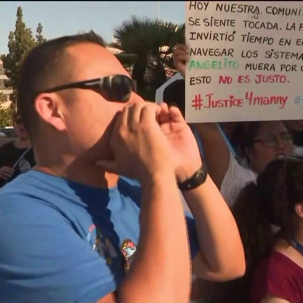 Protestors march on Sept. 14, 2019, in honor of a student with special needs who was killed in a golf cart accident at El Modena High School in Orange on Sept. 9, 2019. (Credit: KTLA)