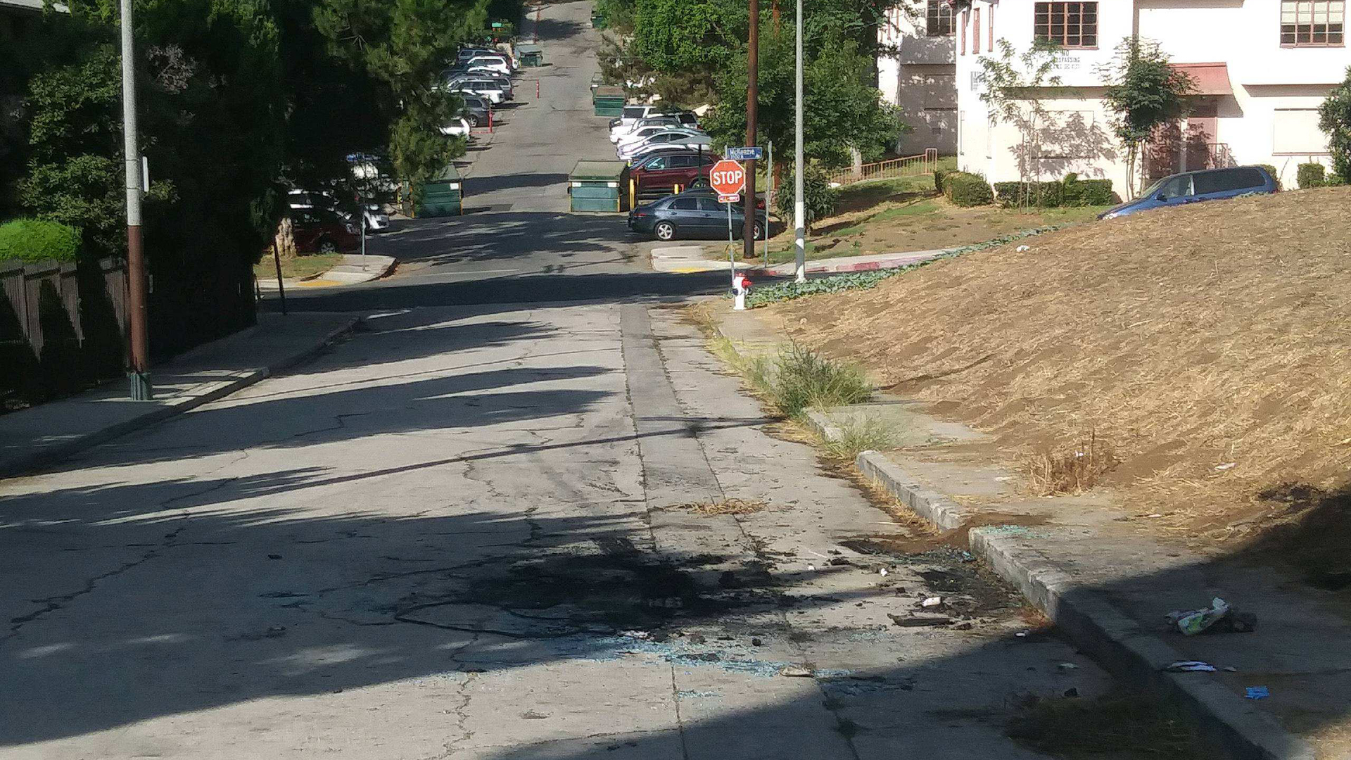 The site where a dead body was found in a burning out car in Montecito Heights is seen on Sept. 30, 2019. (Credit: KTLA)