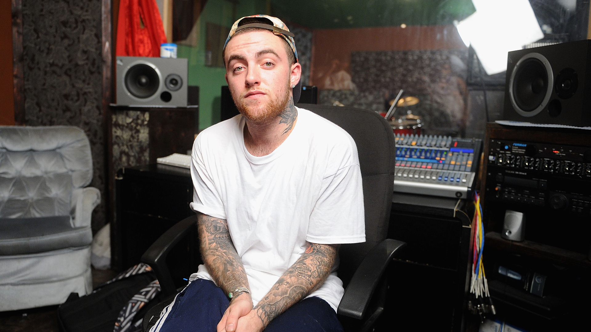 "Mac Miller is pictured during filming of Music Choice's ""Take Back Your Music"" campaign in New York City on July 17, 2013. (Credit: Jamie McCarthy/Getty Images)"