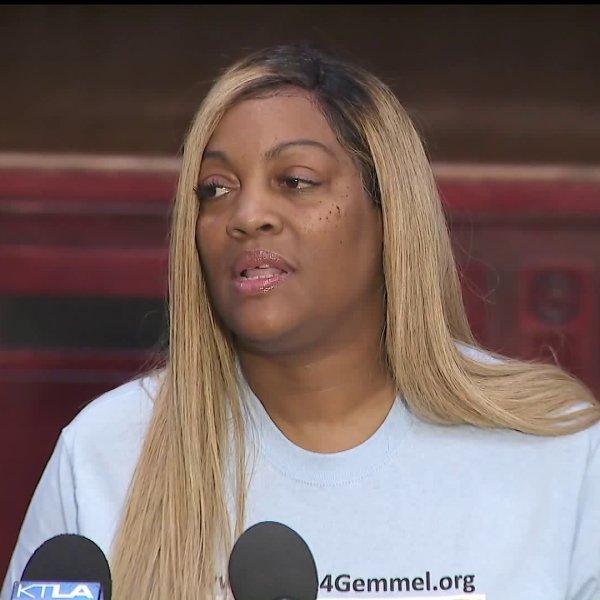LaTisha Nixon, the mother of Gemmel Moore, speaks at a news conference on Sept. 25, 2019. (Credit: KTLA)