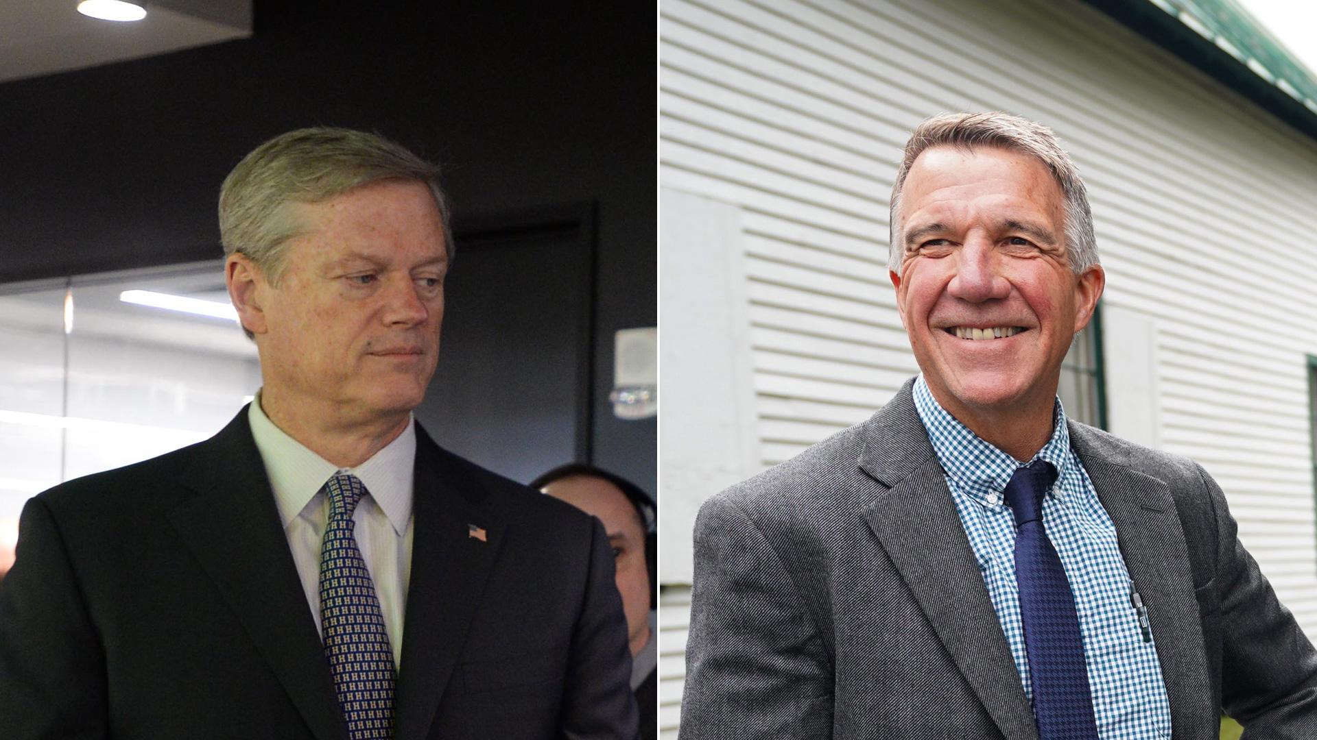 Left, Massachusetts Gov. Charlie Baker on March 26, 2019, in Boston, Massachusetts; right, Vermont Gov. Phil Scott on Sept. 14, 2018. (Credit: left Darren McCollester/Getty Images for DraftKings; right, DON EMMERT/AFP/Getty Images)