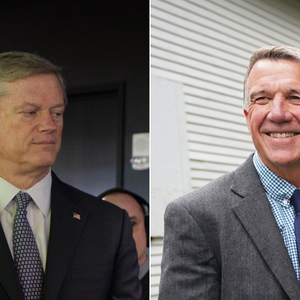 Left, Massachusetts Gov. Charlie Baker on March 26, 2019, in Boston, Massachusetts; right, Vermont Gov. Phil Scott on Sept. 14, 2018. (Credit: left Darren McCollester/Getty Images for DraftKings; right, DON EMMERT/AFP/Getty Images)