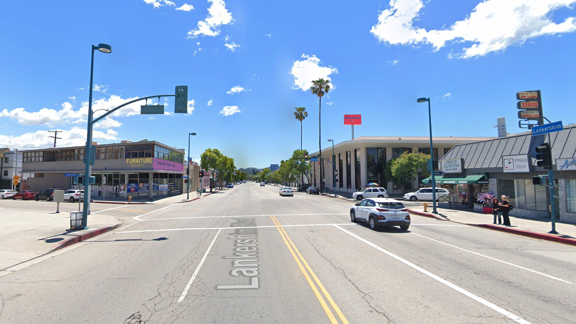 The intersection of Lankershim Boulevard and Hesby Street in North Hollywood is seen in a Google Maps Street View image.