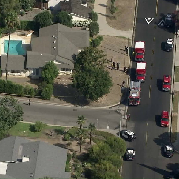 LAPD responded to a fatal triple shooting in Northridge on Sept. 11, 2019. (Credit: KTLA)