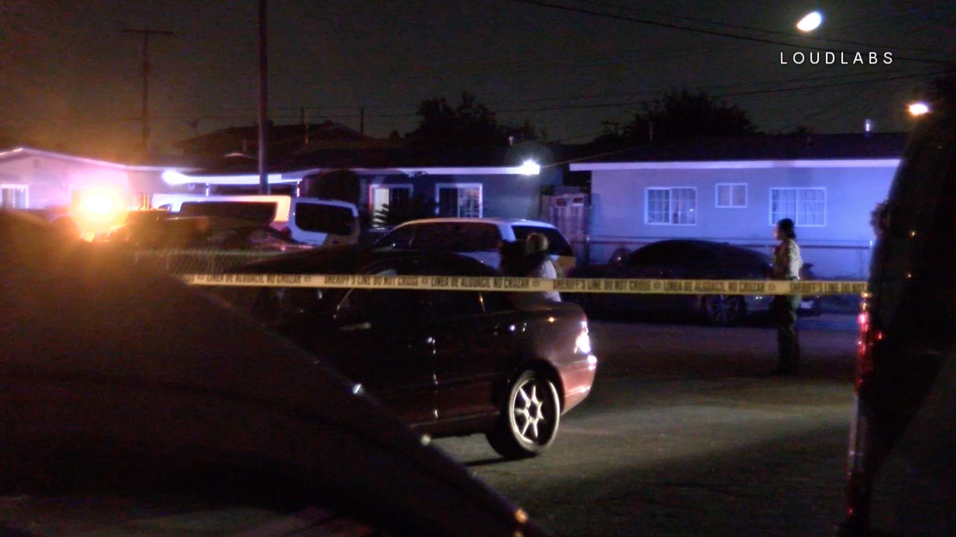 Deputies investigate a shooting that left two men dead in Norwalk on Sept. 6, 2019. (Credit: LoudLabs)