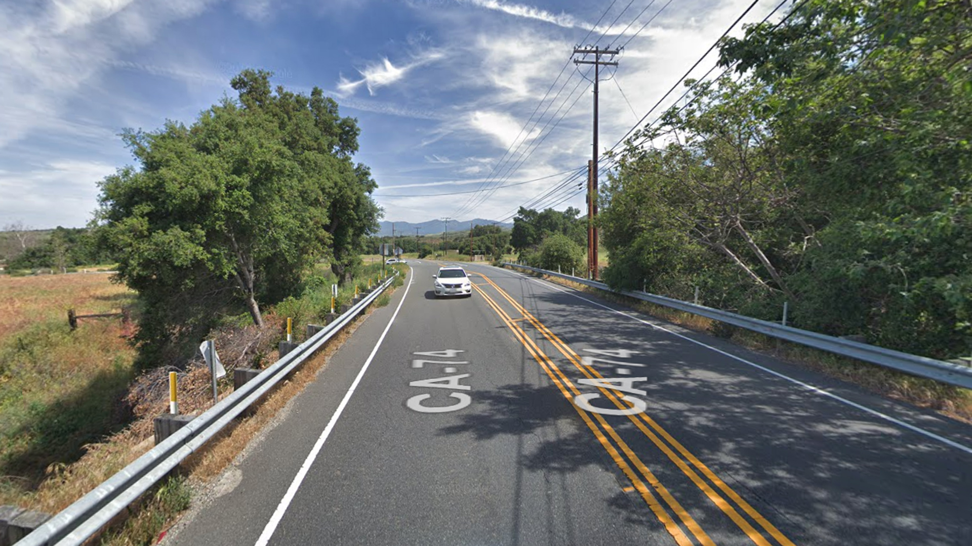 Ortega Highway, near the Ronald W. Caspers Wilderness Park outside of Rancho Mission Viejo, as pictured in an Google Street View image.
