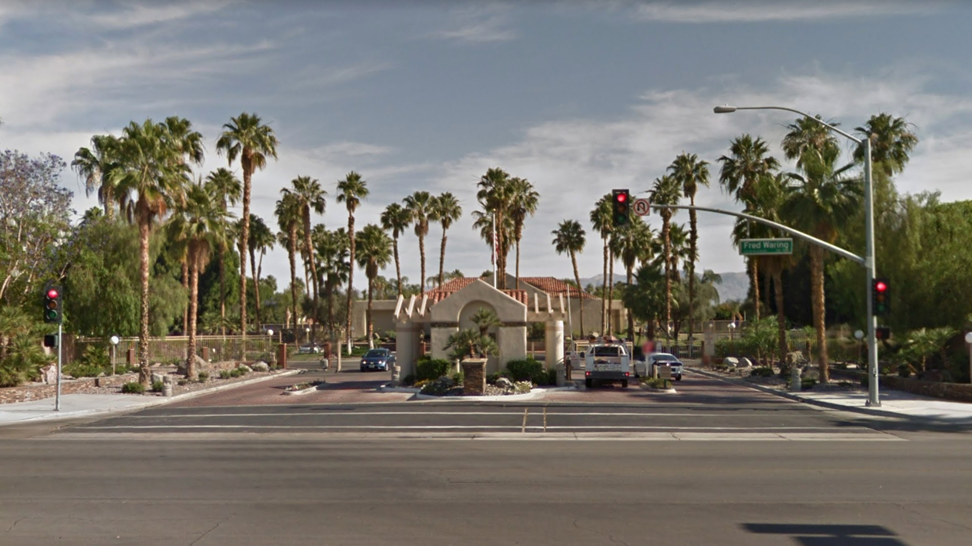 The entrance to the Desert Breeze resort community in Palm Desert, as pictured in a Google Street View image.