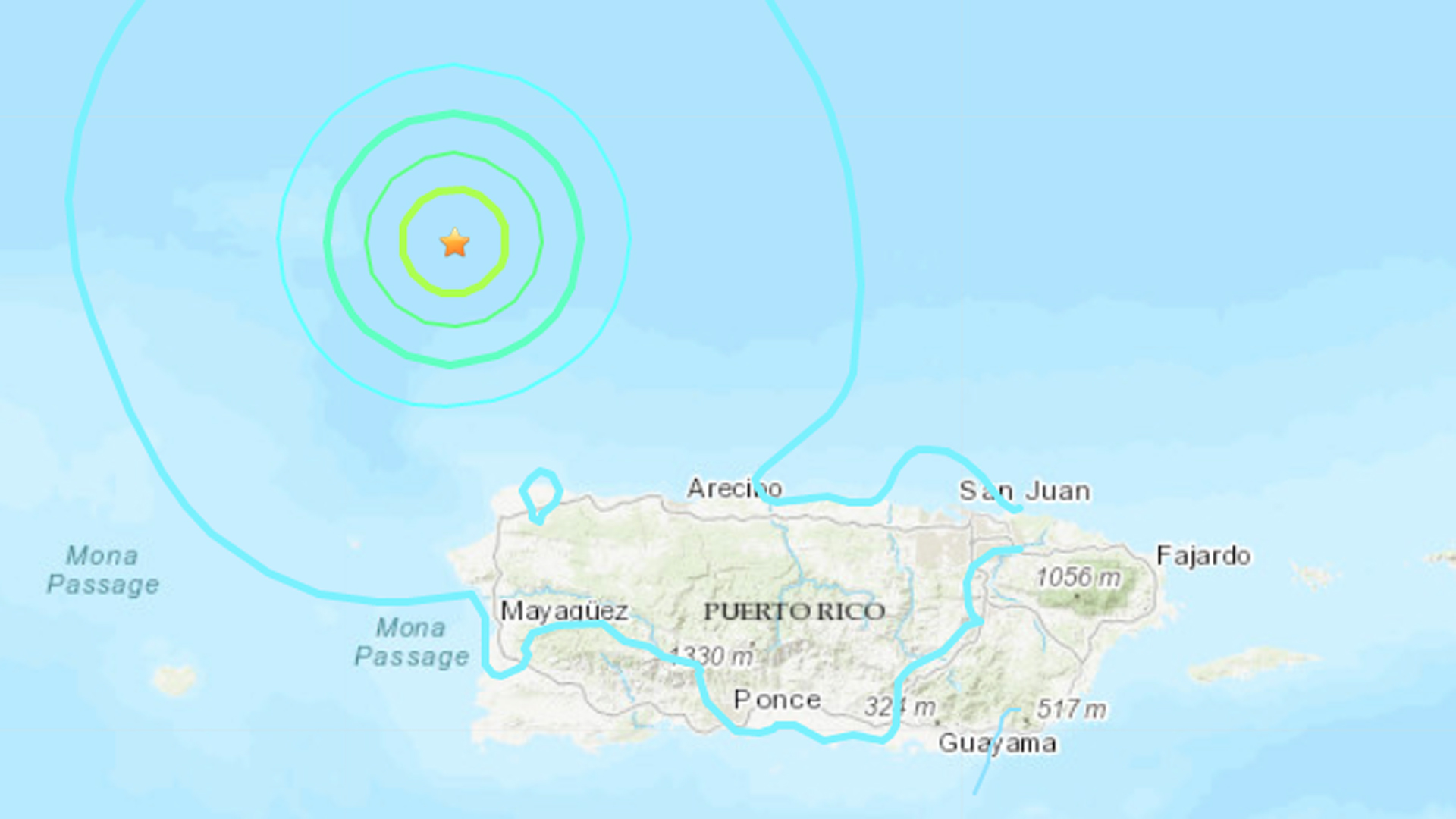A 6.0 magnitude quake that hit off the coast of Puerto Rico is seen in a map provided by the U.S. Geological Survey.