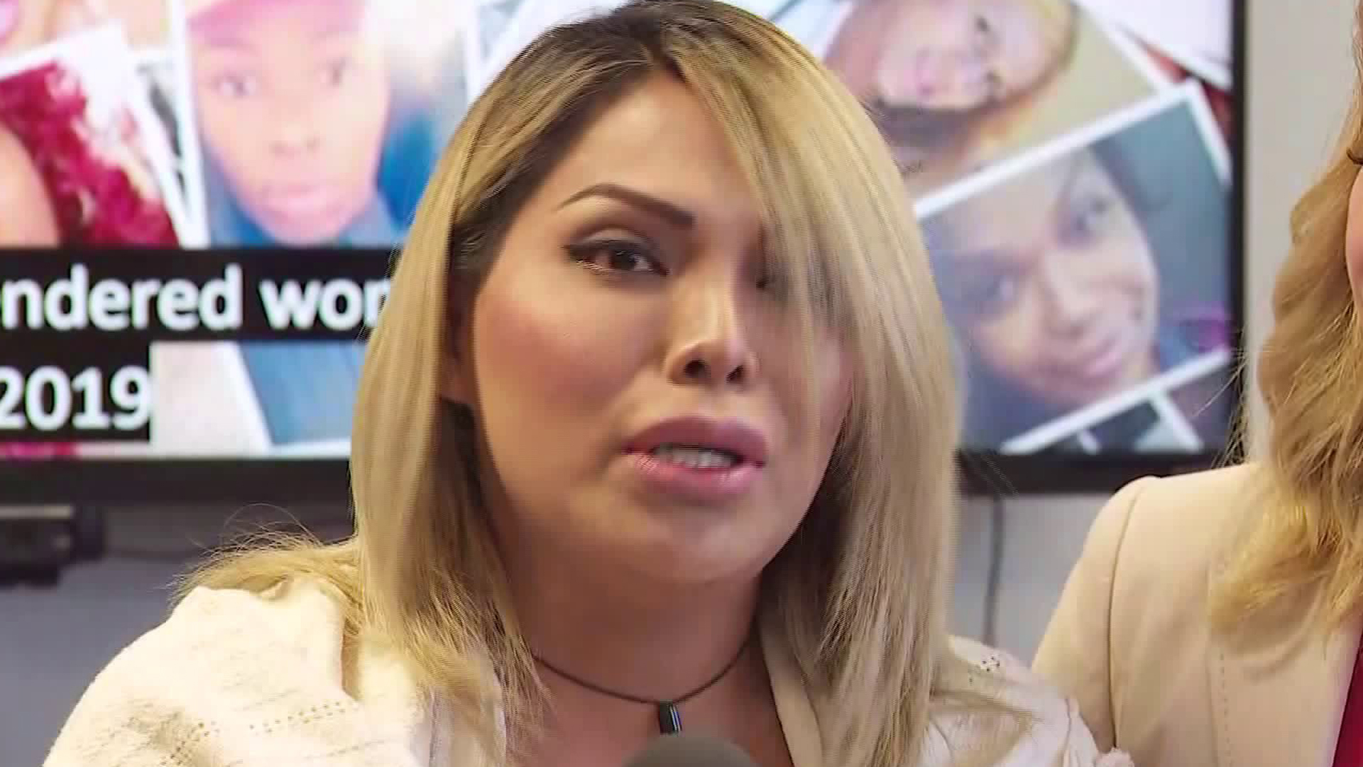 Jennifer Bianchi speaks about being thrown out of downtown L.A. club Las Perlas in an incident that's being investigated as a hate crime, on Sept. 16, 2019, in Woodland Hills. (Credit: KTLA)