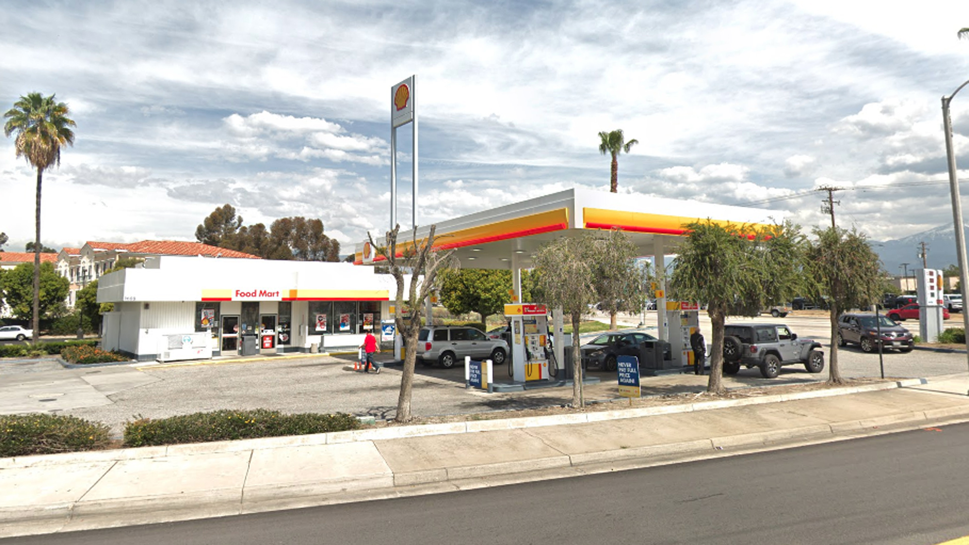 A Shell gas station in Redlands is is shown in a Street View image from Google Maps.