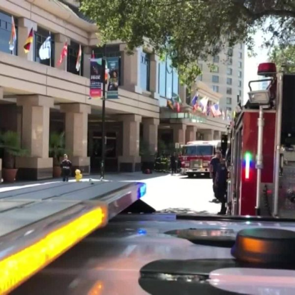 """Authorities respond to the Fairmont Hotel in San Jose on Aug. 31, 2019, after reports of a """"hazmat incident."""" (Credit: KPIX via CNN)"""