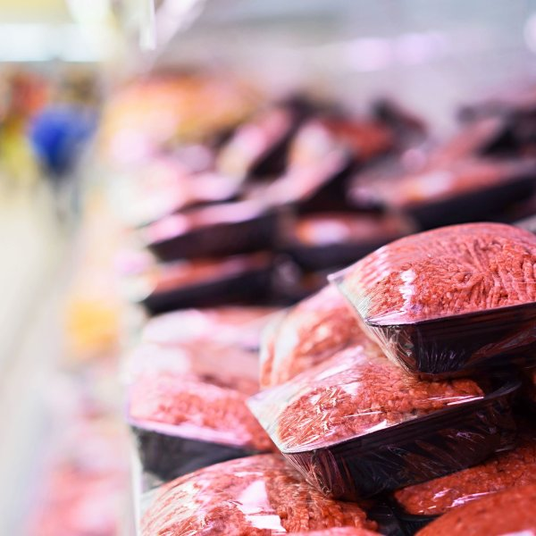 Raw beef packages displayed at a store are seen in an undated photo. (Credit: Shutterstock Via CNN)