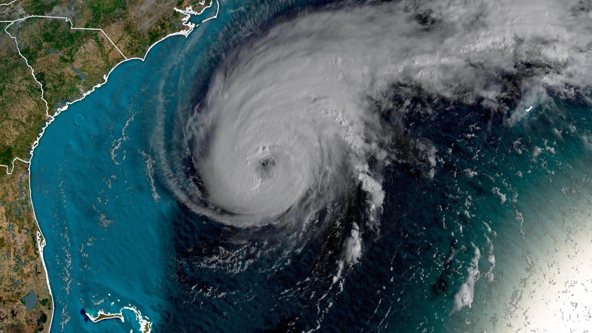 Hurricane Humberto is seen as a Category 2 storm with wind speeds of 100 mph before it was upgraded to a Category 3 on Sept. 17, 2019. (Credit: CNN)