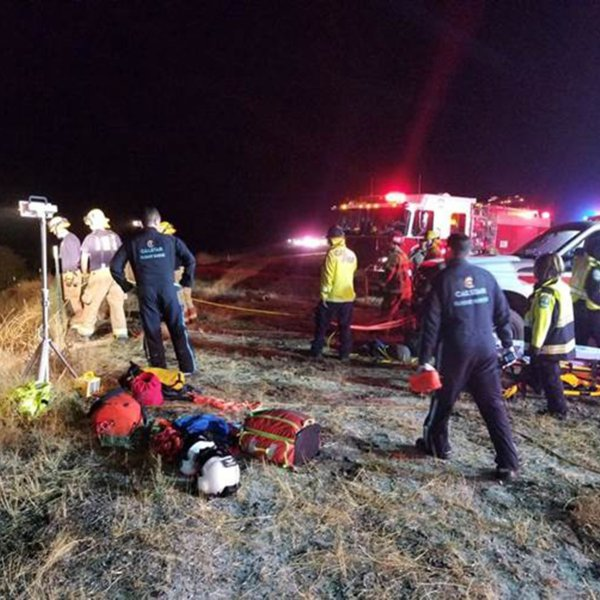 A bus went off the roadway in California, killing one person and injuring multiple others. (Credit: Cal Fire/San Luis Obispo)