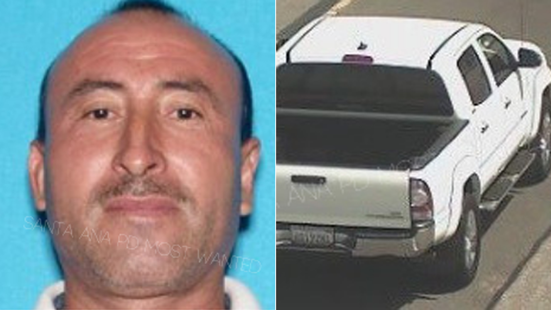 Alexander Chicas and the truck he's believed to be traveling in are seen in photos released Sept. 4, 2019, by the Santa Ana Police Department.