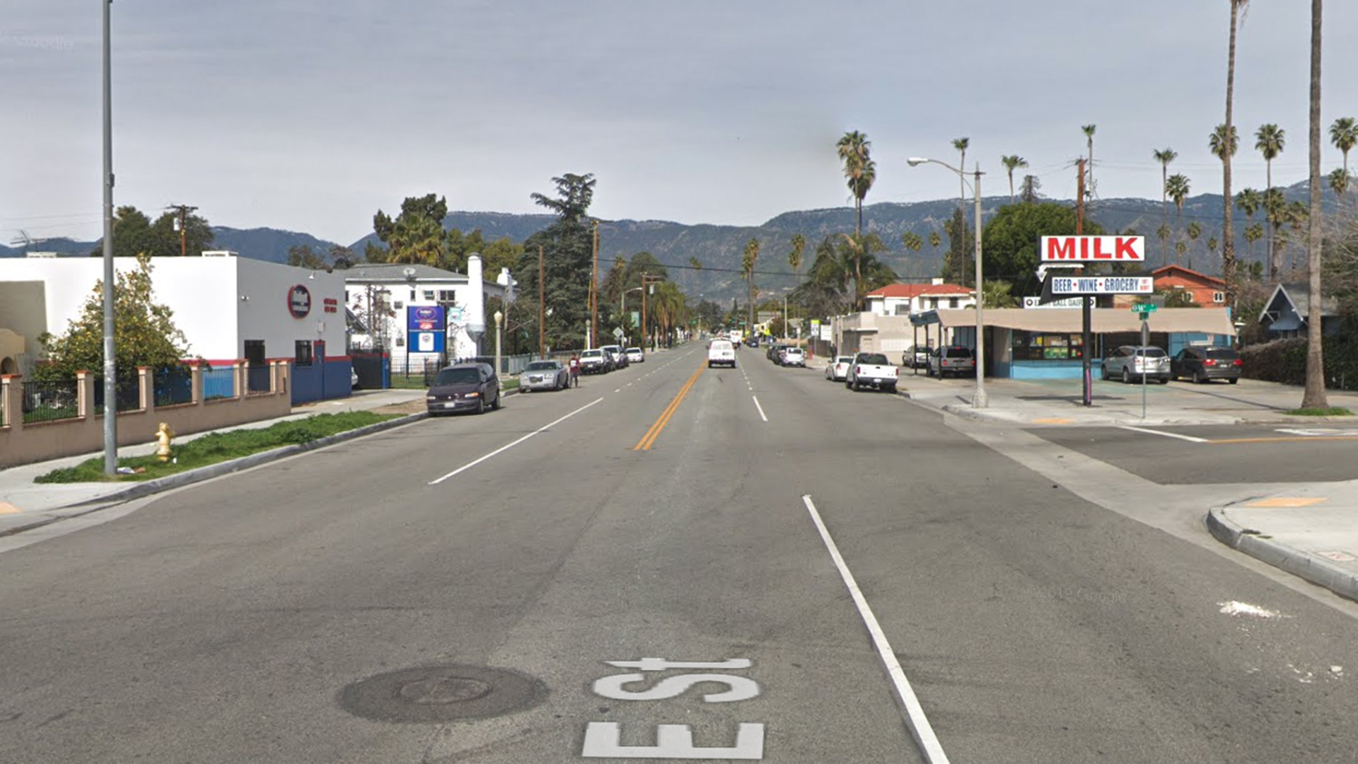 E Street, looking north from 16th Street, in San Bernardino, as pictured in a Google Street View image.