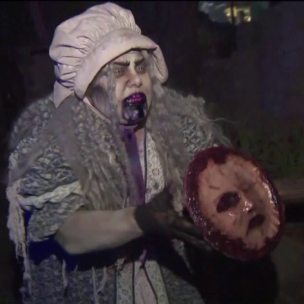 Monsters terrify visitors at Knott's Scary Farm in Buena Park on Sept. 19, 2019. (Credit: KTLA)