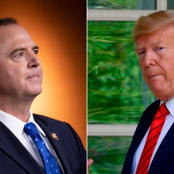 Left, House Intelligence Committee Chairman Rep. Adam Schiff (D-CA) speaks during a press conference on Capitol Hill on Sept. 25, 2019; right, President Donald Trump arrives at the White House the following day. (Credit: left, BRENDAN SMIALOWSKI; right, JIM WATSON; AFP/Getty Images)