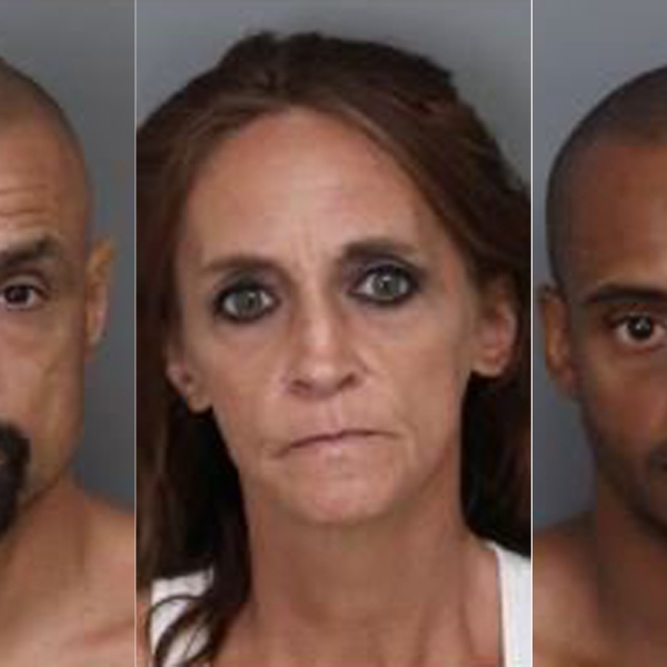 (Left to right) Mark Correria Souza, 42, of Ontario; Jeanne Lynne Zieffler, 50, of Jurupa Valley; and Rollin Roy Phillips, 42, of Ontario, pictured in photos released by the Ontario Police Department on Sept. 5, 2019.
