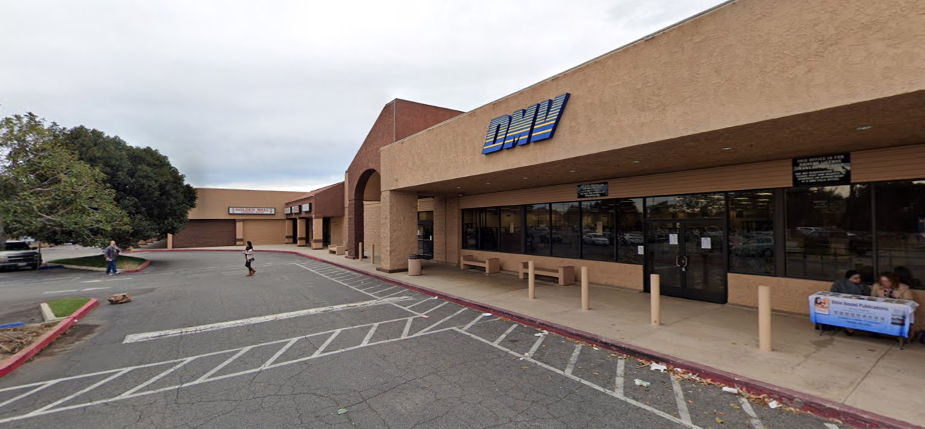 The DMV office in Granada Hills is seen in a Google Maps Street View image.