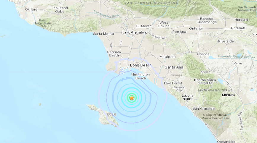 An earthquake struck about 15.5 miles southwest of Huntington Beach on Sept. 14, 2019. (Credit: U.S. Geological Survey)