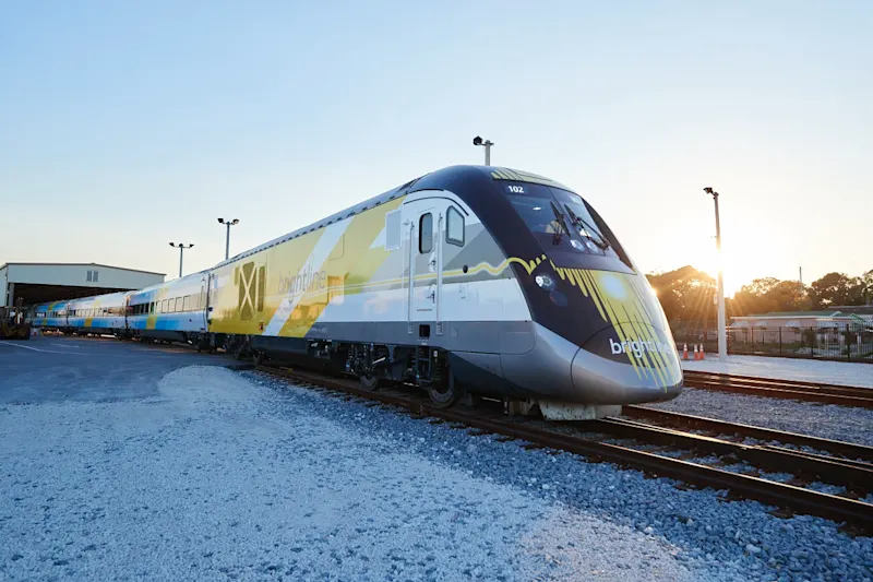 A train from Brightline, the Richard Branson-owned company that has been renamed Virgin Trains USA, is seen in an undated photo provided by the company.