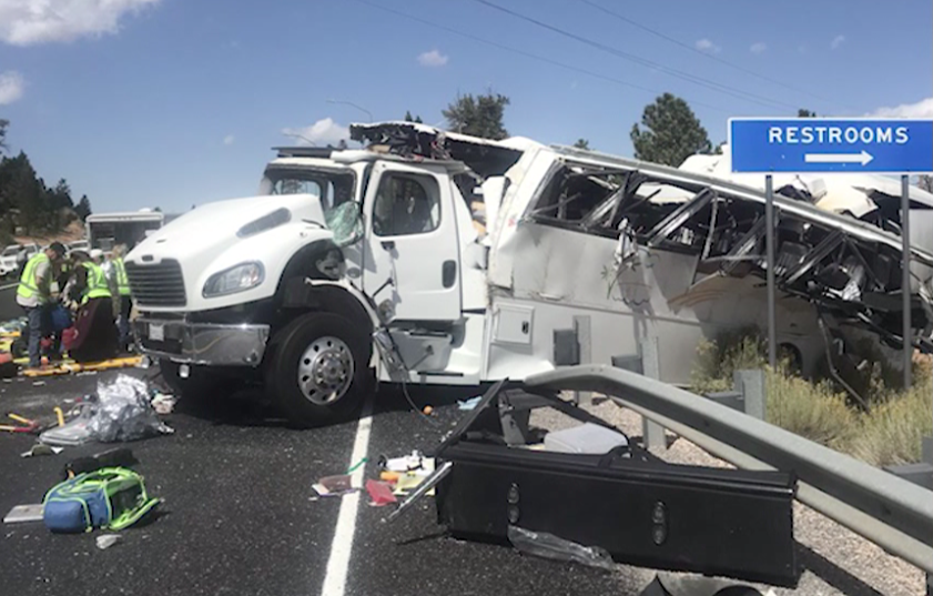 A tour bus crash is shown outside Bryce Canyon National Park on Sept. 20, 2019. (Credit: Garfield County Sheriff's Office via KUTV/CNN)