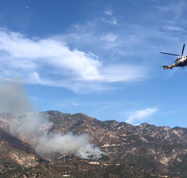 A brush fire burns in Altadena on Sep. 22, 2019. (Credit: Los Angeles County Fire Department Air Operations)