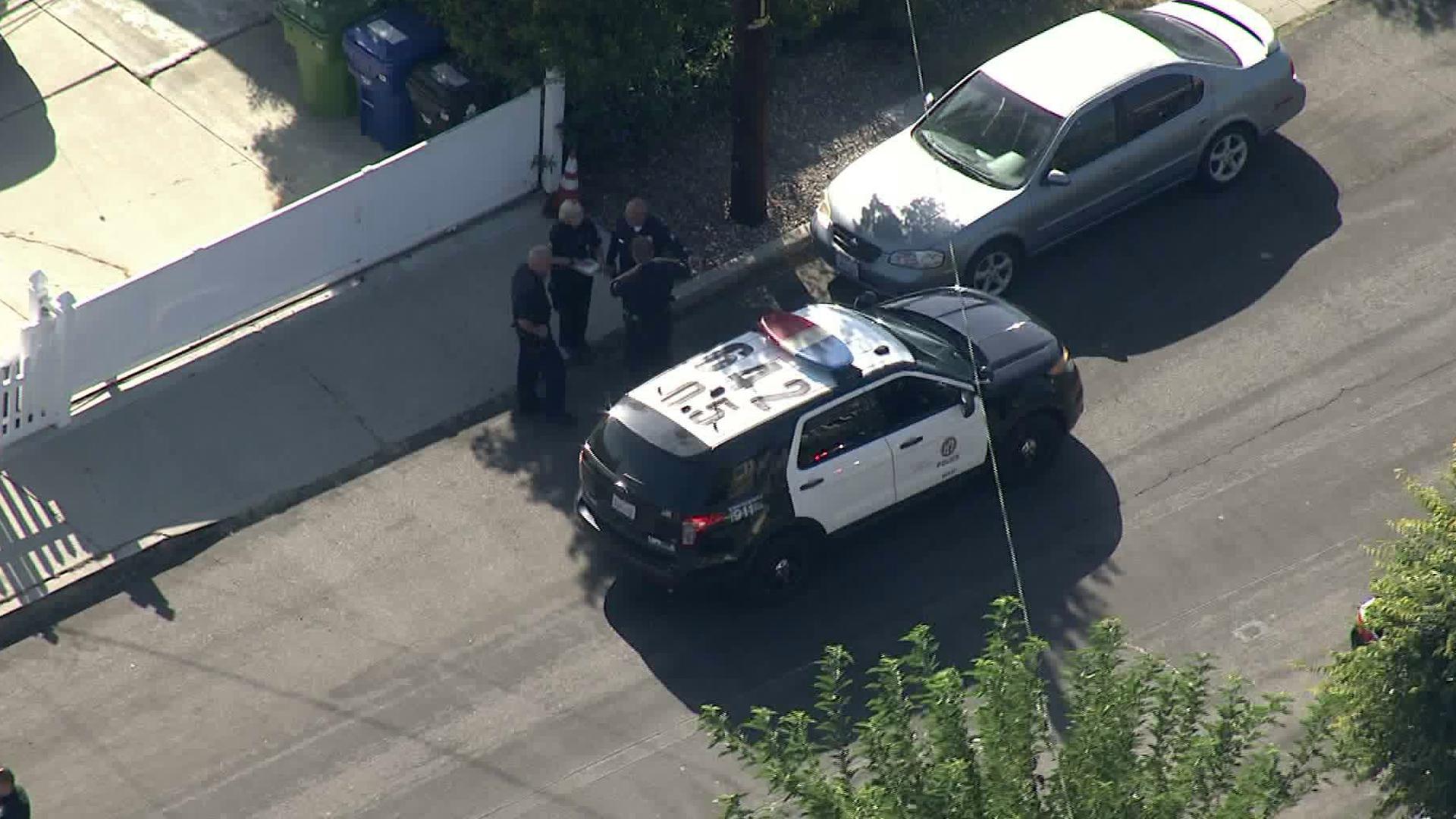 Police investigate a fatal shooting in San Pedro on September 19, 2019. (Credit: KTLA)