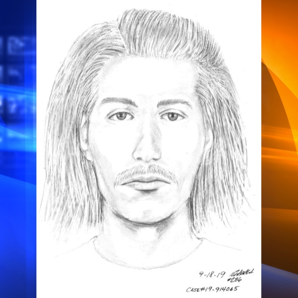 Investigators are seeking the man pictured in this sketch in connection with the beating and robbery of a 91-year-old man as he visited his wife's gravesite in Santa Clara on Sept. 14, 2019. (Credit: Santa Clara Police Department)