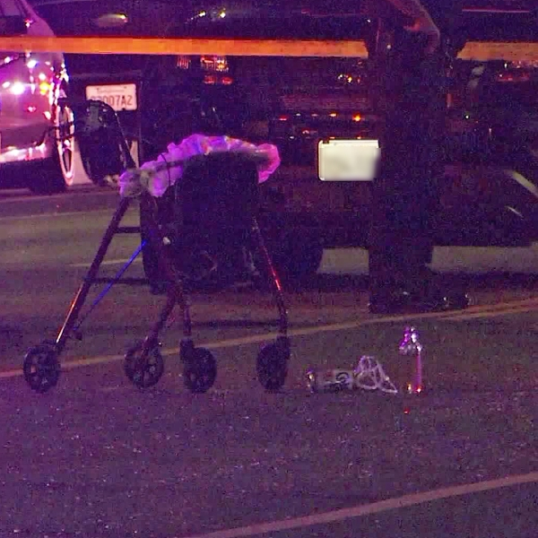 A walker is left at the scene after a pedestrian was struck by two hit-and-run drivers in South L.A. on Sept. 9, 2019. (Credit: OnScene.TV)