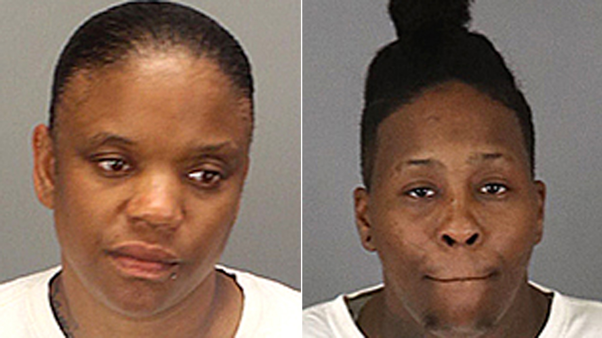 Candace Townsel, left, and Kimesha Williams, right, are seen in booking photos released by the Riverside County Sheriff's Department. Williams is the sister of Clippers star Kawhi Leonard.