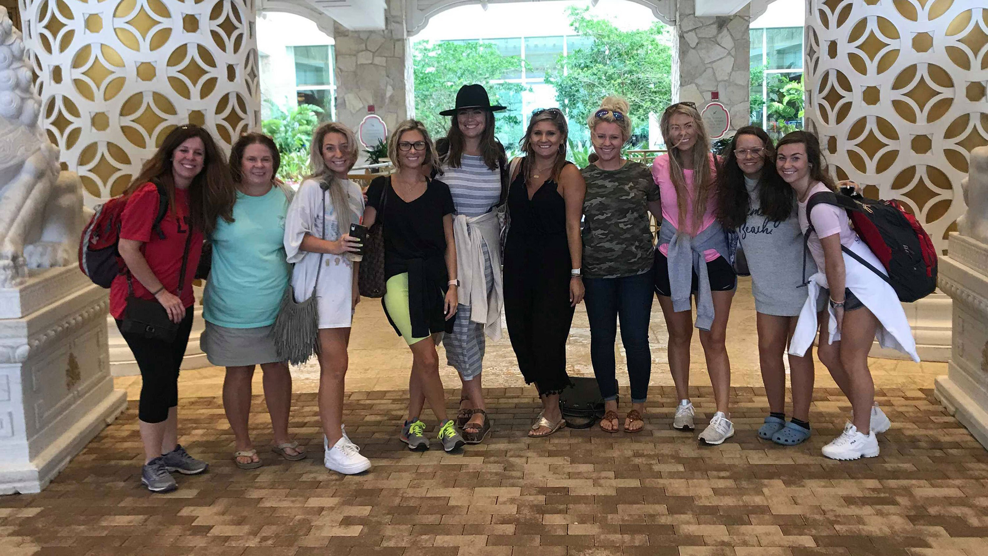 The bride to be, Rikki Kahley, fourth from left, poses with her bachelorette party, including her mother, Sandy Gibbs Kahley, second from left, and sister Chloe, third from left. (Credit: Rikki Kahley)