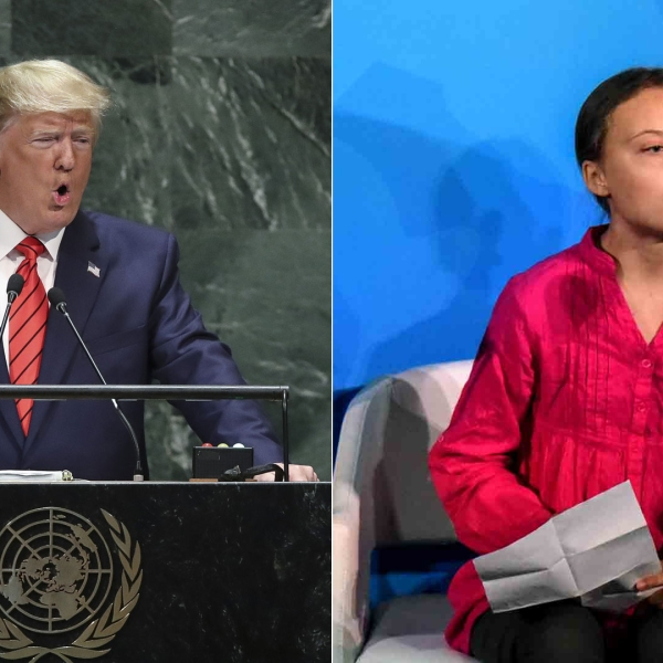 Left: President Donald Trump addresses the United Nations General Assembly at UN headquarters on September 24, 2019 in New York City; Right: Youth activist Greta Thunberg speaks at the Climate Action Summit at the United Nations on September 23, 2019 in New York City. (Credits: Drew Angerer/Getty Images Stephanie Keith/Getty Images)