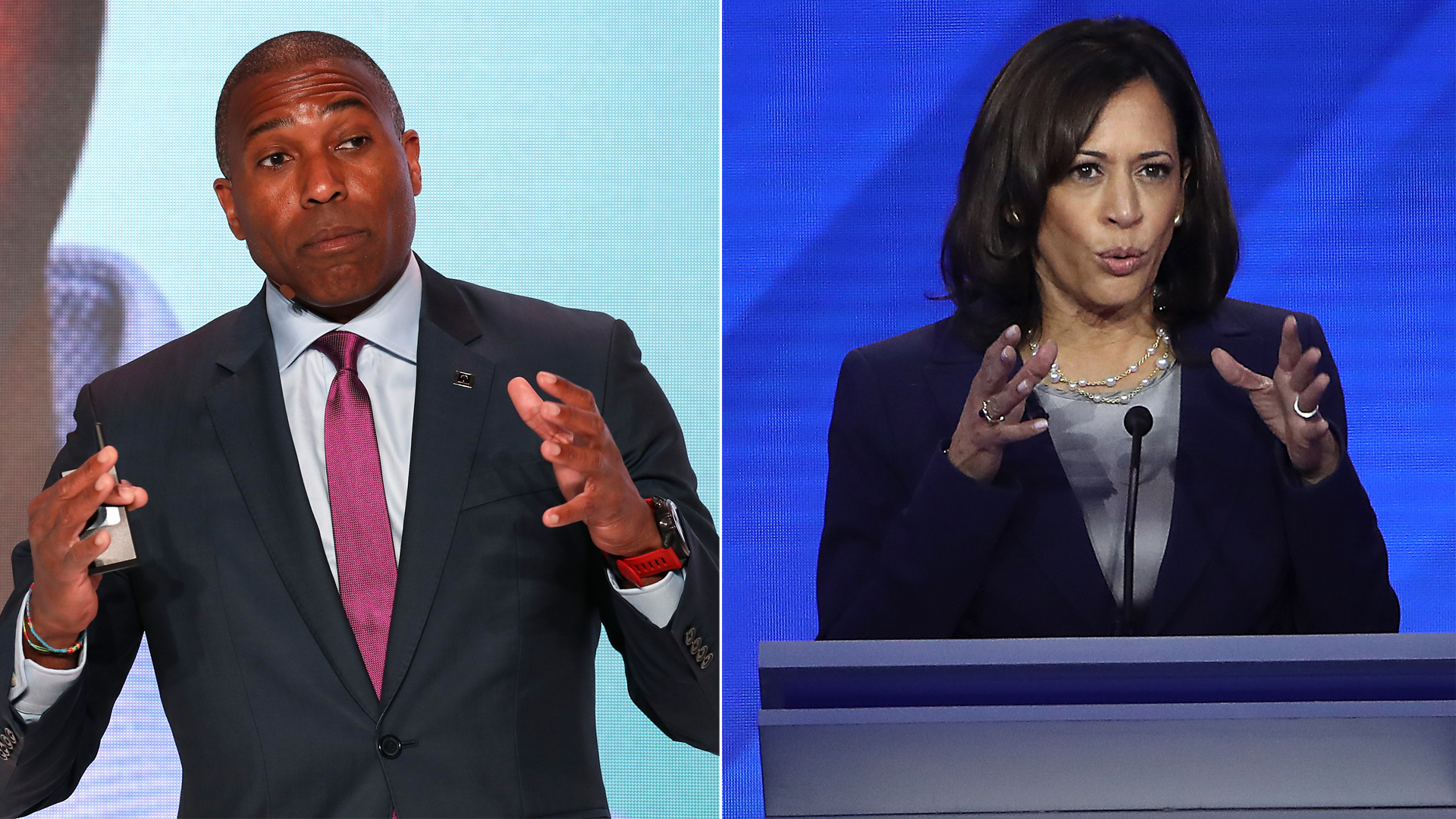 Tony West, left, is the chief legal officer for Uber and brother-in-law of Sen. Kamala Harris, right.(Credit: Tasos Katopodis and Win McNamee/ Getty Images)